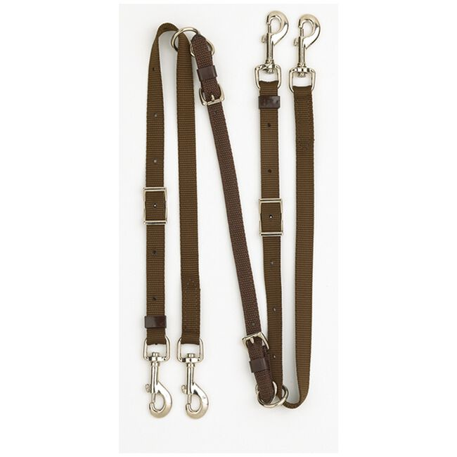 Tory Leather Web & Leather Draw Reins Black image number null