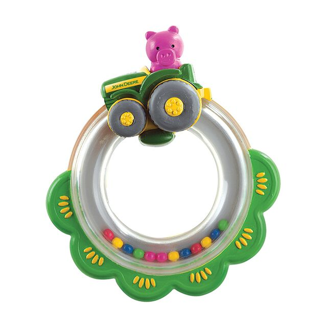 John Deere Tractor Ring Rattle Toy image number null