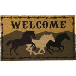 River's Edge Products Running Horses Coir Welcome Mat