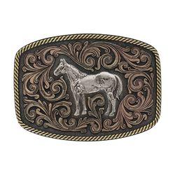 Montana Silversmiths Tri-Color Standing Horse Attitude Buckle