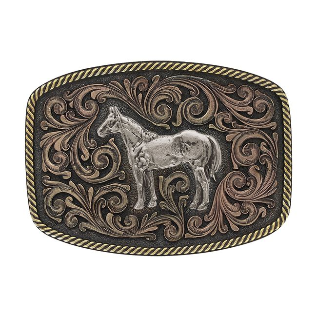 Montana Silversmiths Tri-Color Standing Horse Attitude Buckle image number null