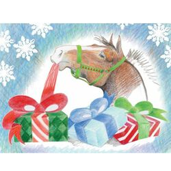 Horse Hollow Press Christmas Card Horse Unwrapping Presents