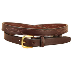 """Tory Leather 3/4"""" Fancy Stitched Belt with Brass Buckle"""