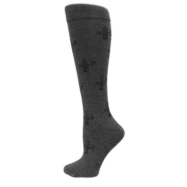 Wrangler Ladies Cactus Knee High Socks - Charcoal image number null