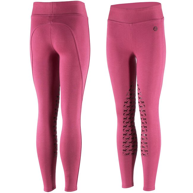 Horze Active Kids Silicone Horse Grip Tights - Berry image number null