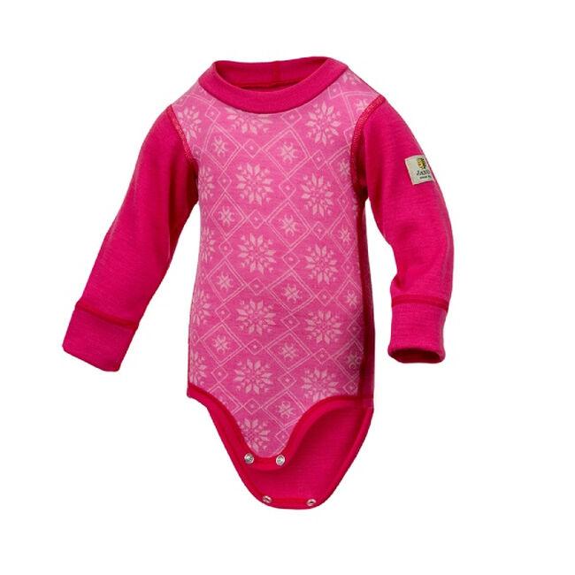 Janus Baby Wool Snowflake Bodysuit - Pink image number null