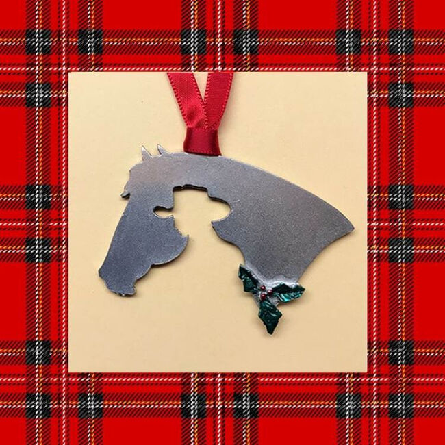 Loriece Western Rider Silhouette Pewter Christmas Ornament image number null