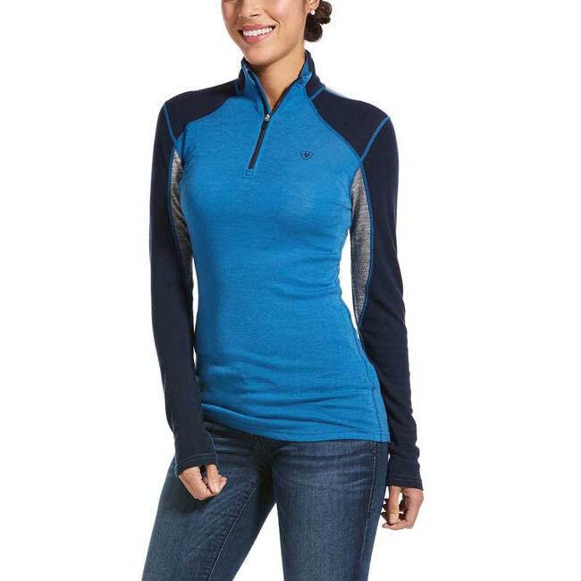 Ariat Cadence Wool 1/4 Zip Long Sleeve Shirt - Blue/Gray image number null