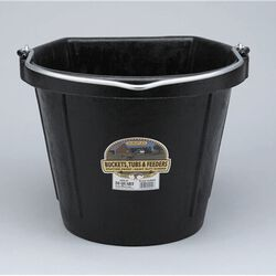 DuraFlex 5 Gallon Rubber Flatback Bucket-Black