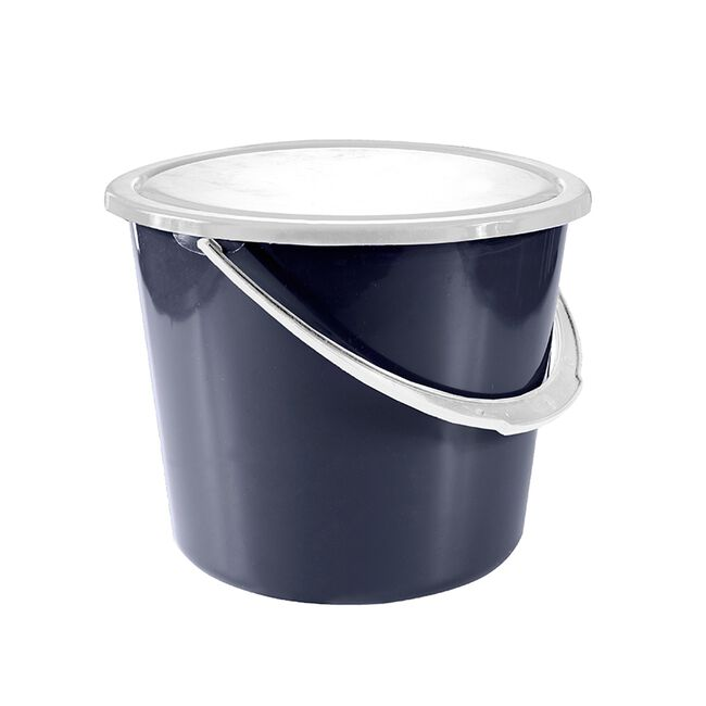 Horze 2 Gallon Stable Bucket with Cover - Dark Blue image number null