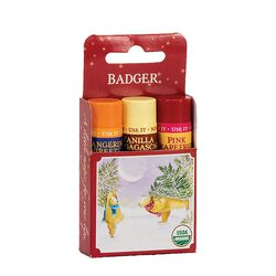 Badger Lip Balm Holiday Gift 3-Pack - Red Box