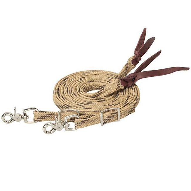 Weaver Leather Flat Braided Competition Split Reins - Tan/Brown image number null