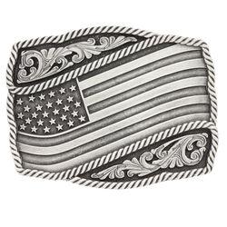 Montana Silversmiths Classic Impressions Waving American Flag Attitude Buckle