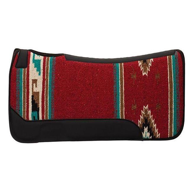 Weaver Leather Contoured Single Weave Wool Blend Felt Saddle Pad - Burgundy/Turquoise Pattern image number null
