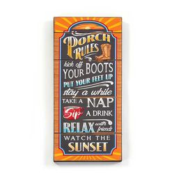 GiftCraft Wall Plaque Porch Rules