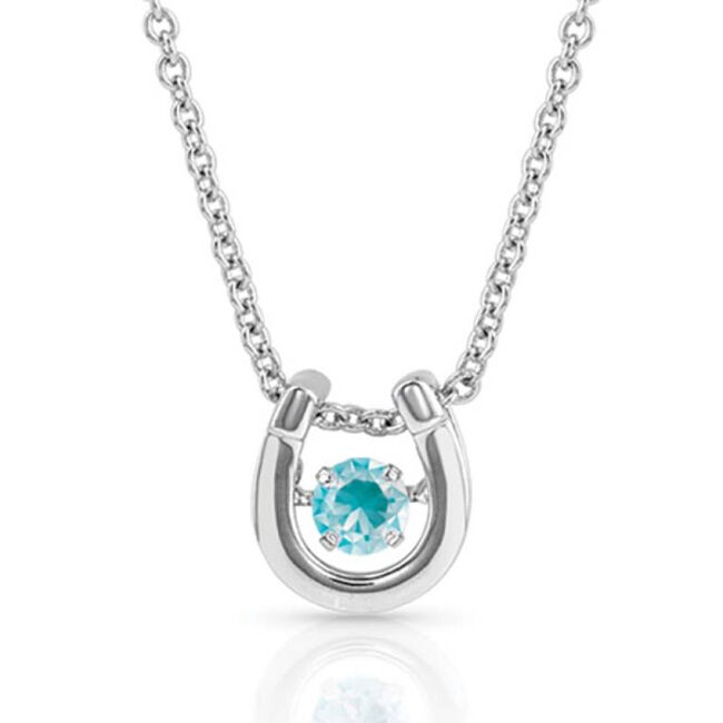 Montana Silversmiths Dancing Birthstone Horseshoe Necklace - December image number null