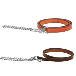 Tory Leather Lead with Nickel Plated Chain