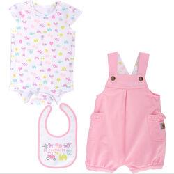 Carhartt Girls' Infant/Toddler 3 Piece Shortall Set