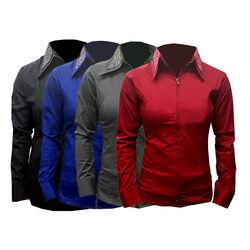 RHC Equestrian Ladies Fancy Double Collar Zip Show Shirt