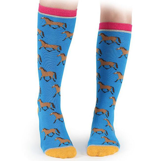 Shires Everyday Women's Sock - Blue/Little Bay Horses image number null