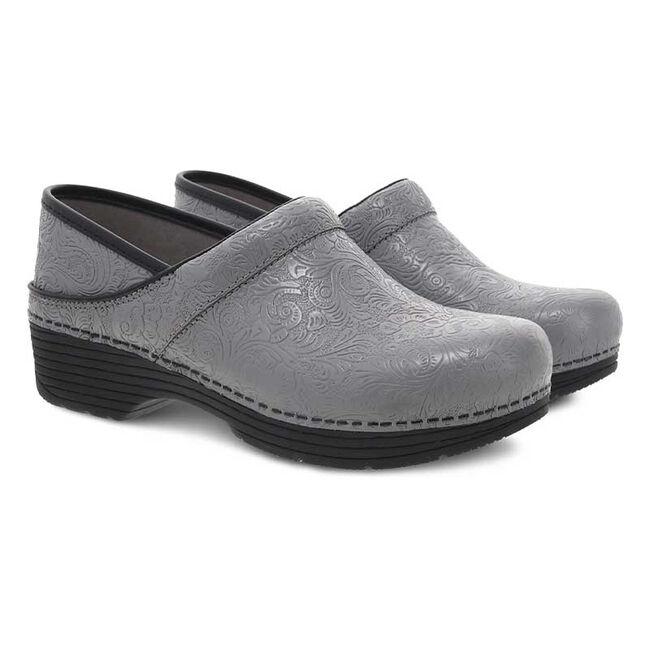 Dansko LT Pro Grey Floral Tooled Leather Clog  image number null