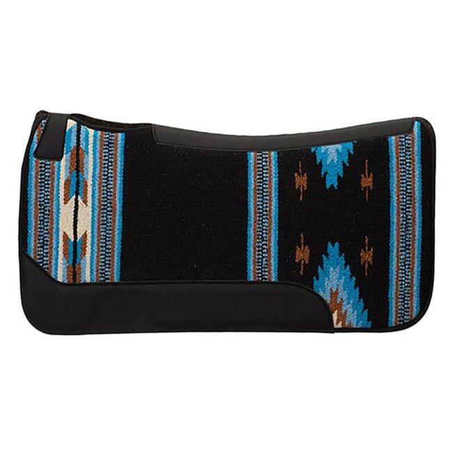 Weaver Leather Contoured Single Weave Wool Blend Felt Saddle Pad - Black/Blue Pattern image number null