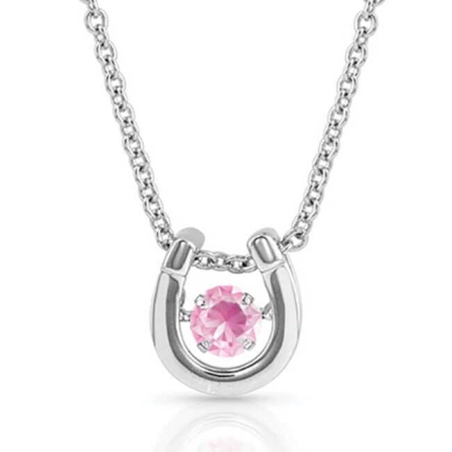 Montana Silversmiths Dancing Birthstone Horseshoe Necklace - October image number null