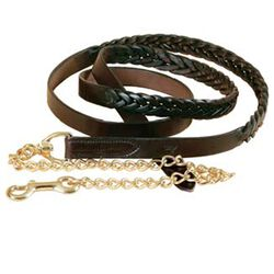 Tory Braided Leather Lead With Chain - Havana