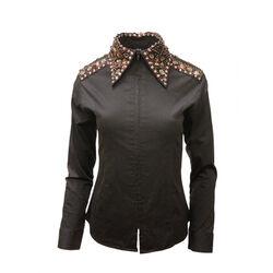 RHC Equestrian Ladies Jeweled Collar & Shoulders Zip Up Show Shirt