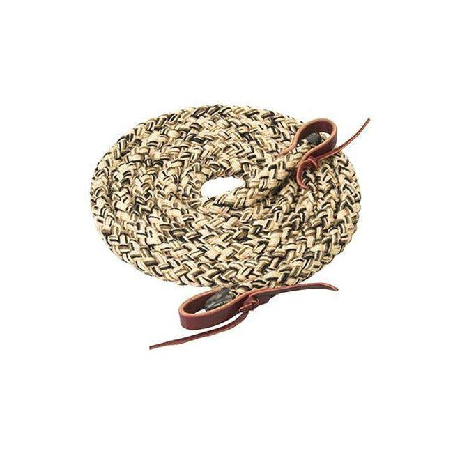 Weaver Leather Silvertip Hollow Braid Trail Reins - Tan/Brown/Black image number null