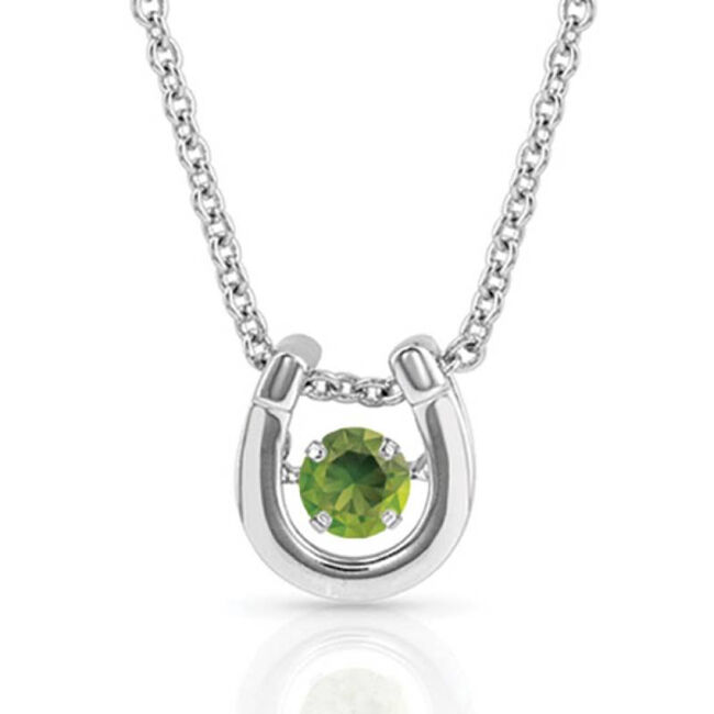 Montana Silversmiths Dancing Birthstone Horseshoe Necklace - August image number null