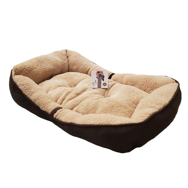All for Paws Lambwool Bolster Dog Bed - Brown image number null