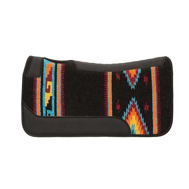 Weaver Leather Contoured Single Weave Wool Blend Felt Saddle Pad - Black/Orange/Blue image number null