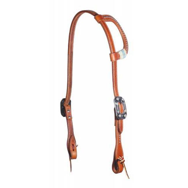 Professional's Choice Turquoise Rawhide One-Ear Headstall - Natural Leather image number null