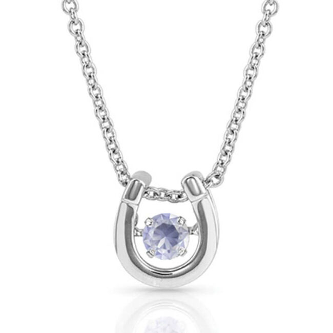 Montana Silversmiths Dancing Birthstone Horseshoe Necklace - June image number null