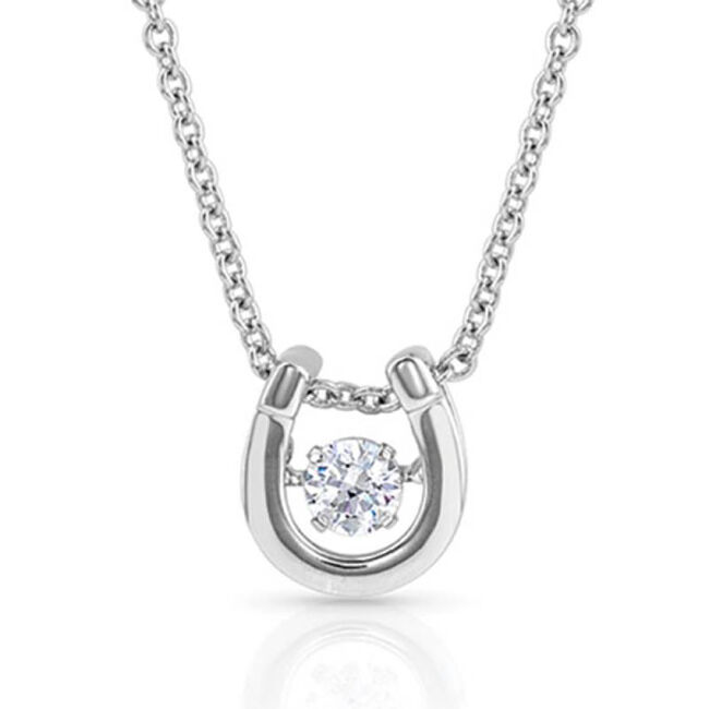 Montana Silversmiths Dancing Birthstone Horseshoe Necklace - April image number null