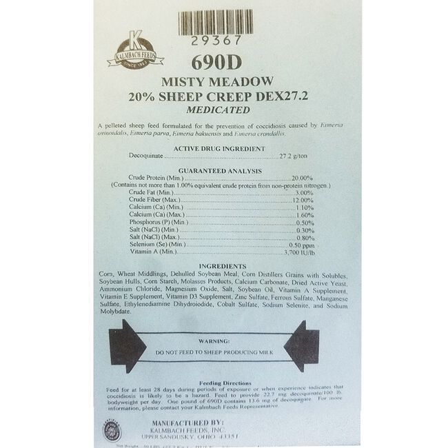 Kalmbach Misty Meadow Medicated 20% Sheep Creep DEX27.2 (Comes in White bags) image number null
