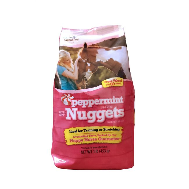 Manna Pro Peppermint Flavor Bite Sized Nuggets Horse Treats - 1lb Bag image number null