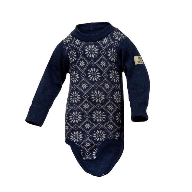 Janus Baby Wool Snowflake Bodysuit - Navy image number null