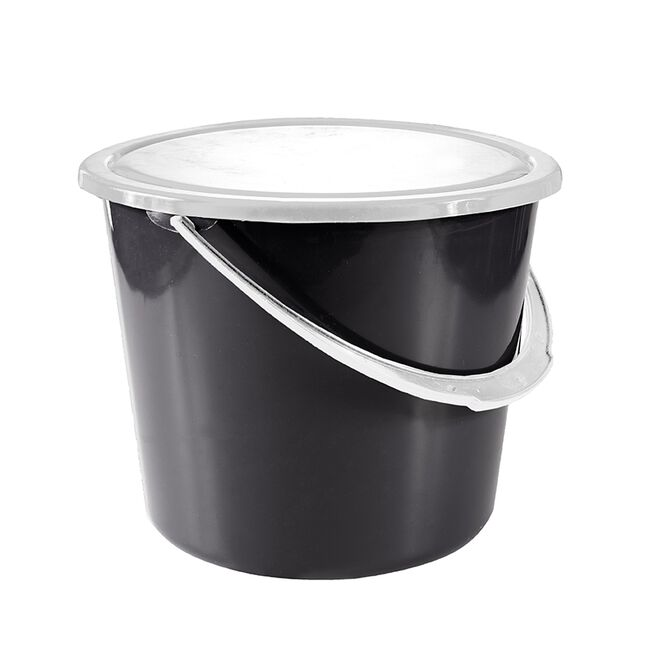 Horze 2 Gallon Stable Bucket with Cover - Black image number null