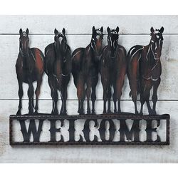 GiftCraft Metal Horse Herd Welcome Sign