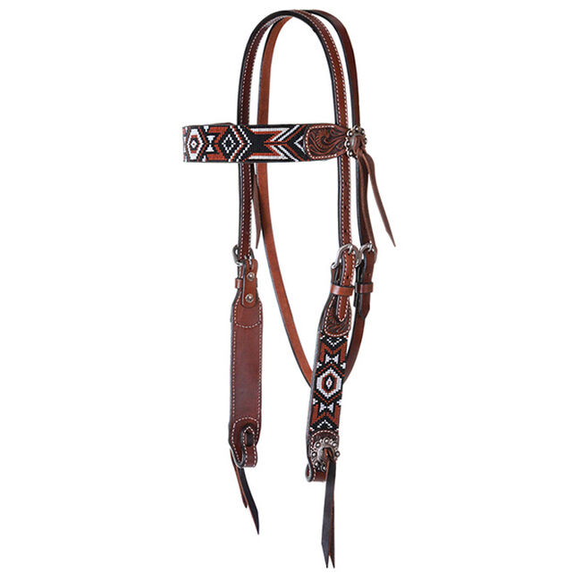 Circle Y Infinity Bead Browband Headstall - Red Aztec image number null