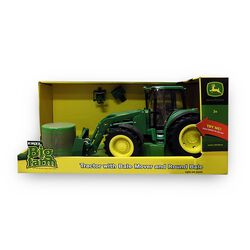John Deere Big Farm Tractor With Bale Mover and Round Bale