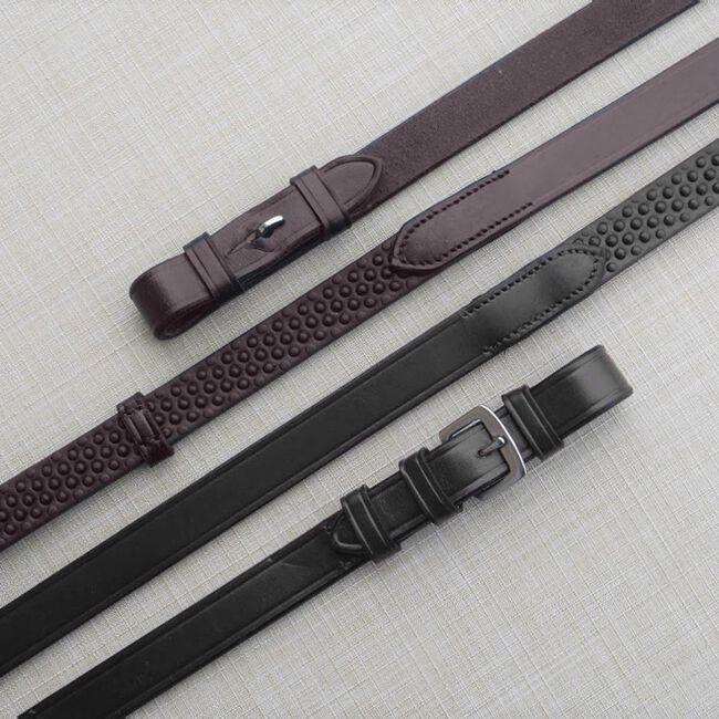 KL Select Black Oak Pebble Grip Reins w/ Stops image number null