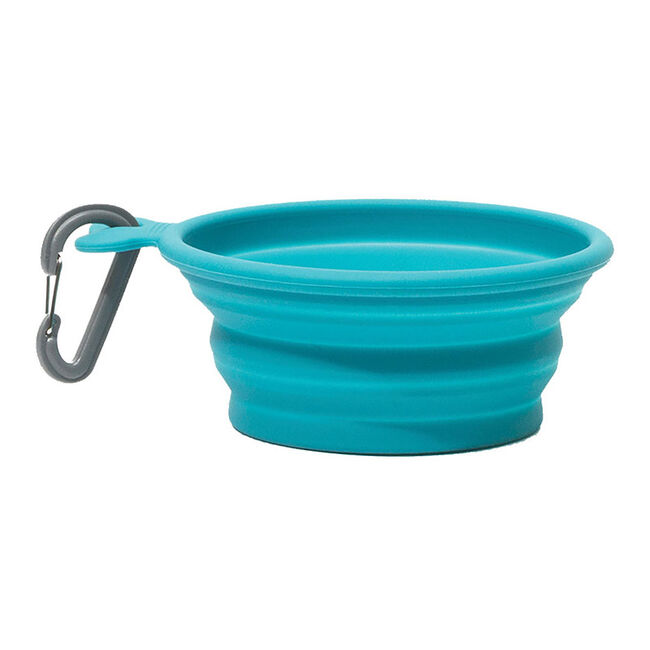 Messy Mutts 3 Cup Capacity Collapsible Silicone Travel Bowl - Blue image number null