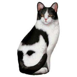 Fiddler's Elbow Black and White Tabby Cat Doorstop