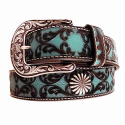 Ariat Turquoise Painted Scroll Pattern Starburst Concho Leather  Western Belt