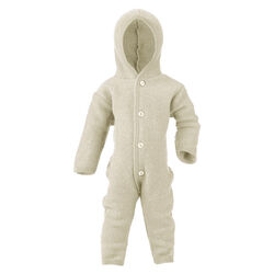 Engel Baby/Toddler Merino Wool Fleece Hooded Overall with Wooden Buttons