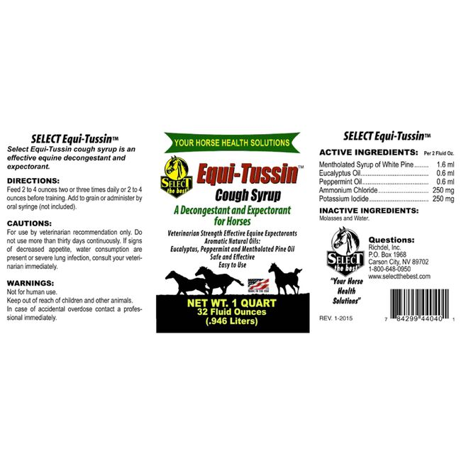 Select the Best Equi-Tussin Decongestant & Expectorant for Horses  image number null
