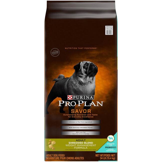 Purina Pro Plan Savor Shredded Blend Weight Management Dry Dog Food - 34lb image number null